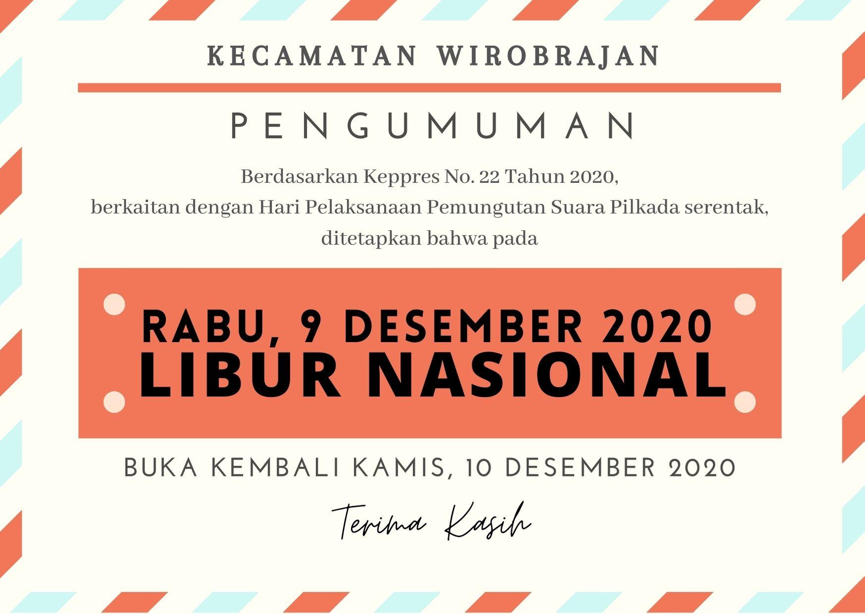 Hari Libur Nasional 09 Desember 2020