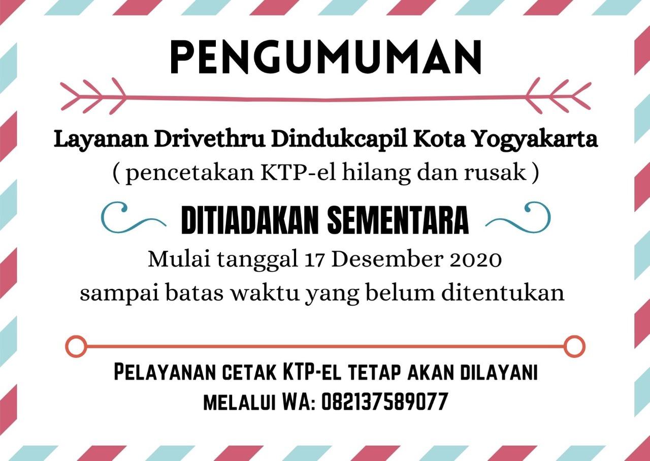Layanan Drivethru Dindukcapil Kota Yogyakarta Ditiadakan Sementara